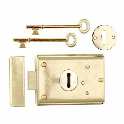 2 Rim Lock Brass Plated Steel Rim Lock Brass-plated Steel 3H x 4 7/8W in Set of