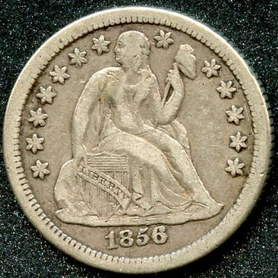 1856-O (Xf) 10C Seated Liberty Dime W/arrows