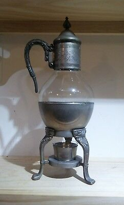 Vintage 4 Pc Silver Plate Glass Coffee Pot Silver Stand Handle Antique Ornate