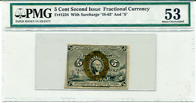 5 Cent Second Issue Fractional Currency FR#1234 PMG 53 About Unc