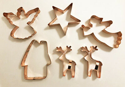 Lot Set 6 Large Copper Christmas Cookie Cutters House Angel Star Reindeer