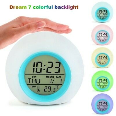 7Color LED Backlight Digital Alarm Clock Bedroom Kid Student Bedside Clock Gifts