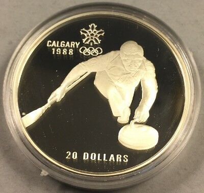 1987 Canada $20 Proof 1988 Calgary Olympic Coin- Curling - w/Capsule 1 Oz Silver
