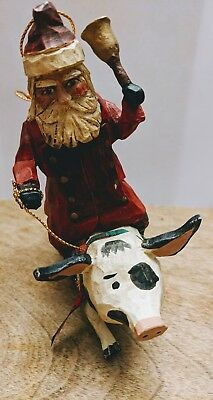 House Of Hatten HOH Santa Riding Spotted Pig Ornament