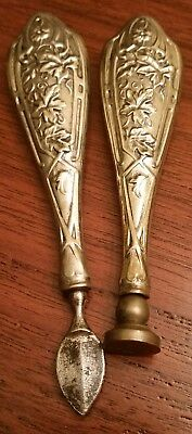 Antique VICTORIAN Sterling Silver WAX SEAL and SCRAPER SET