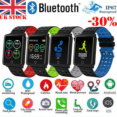 For iOS Android Waterproof Sport Smart Watch Blood Pressure Heart Rate Monitor