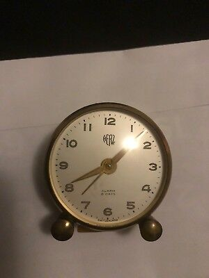 Vintage Herz 8 Day Swiss Made Travel Alarm Clock with Leather Case