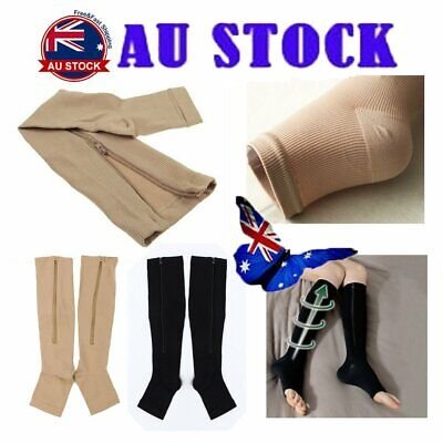 Compression Socks Zipper Leg Support Knee Open Toe Shaper Stockings BK