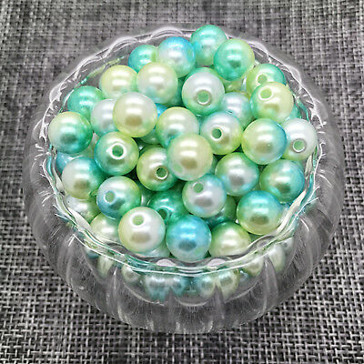 NEW 6MM 100PCS Acrylic Colour Round Pearl Spacer Loose Beads Jewelry Making #03