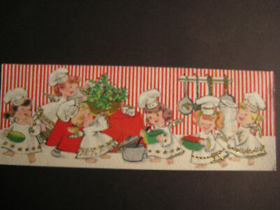 1960s vintage greeting card CHRISTMAS Glittered Angel Chefs Cooking Xmas Dinner