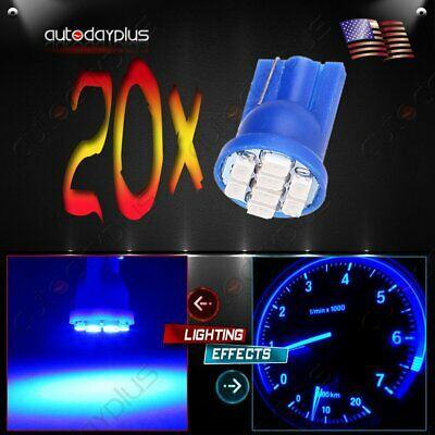 20Pcs T10 W5W 194 168 8SMD LED Car Dashboard Cluster Light Side Wedge Bulbs Blue