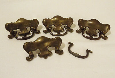Lot of 4 Decorative Old Vintage Metal Cabinet Dresser Drawer Pull Handles
