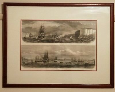 Antique Original Colonial Australian View of Royal Ships in Sydney Harbour 1868