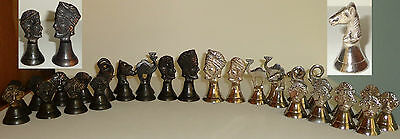 ANTIQUE VINTAGE METAL FIGURAL CHESS SET BELLS BRONZE vs SILVER 32 p TURKEY RARE