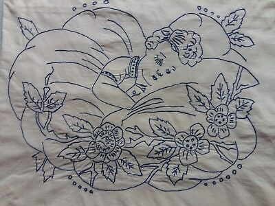 ANTIQUE Beautiful Vintage Handmade EMBROIDERY Pillow case Sleeping child