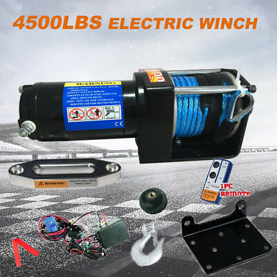 Wireless 4500LB/2041kg 12V Electric Winch Synthetic Rope Remote ATV 4WD 4X4 Boat