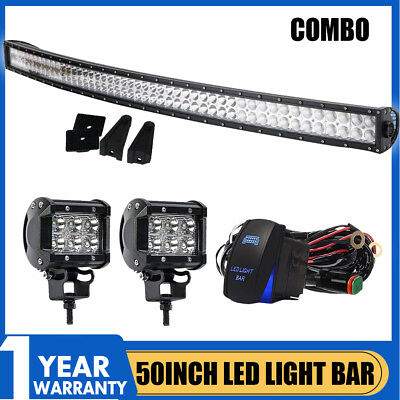 """52Inch Curved Off road LED Light Bar Combo + 4"""" CREE Pods Fit SUV Truck Jeep 50"""
