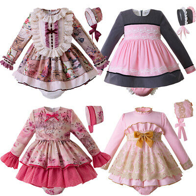 Baby Girl Spanish Dresses 6-9 months 1 Year Girl Party Dress Pink Frilly Dress
