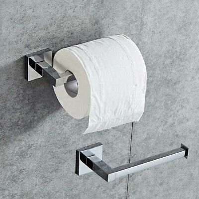 Bathroom Chrome Square Wall Mounted Toilet Roll Tissue Paper Holder