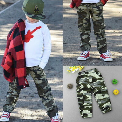 Children Kids Camouflage Trousers Boys Military Camo Long Pants Clothes Bottoms