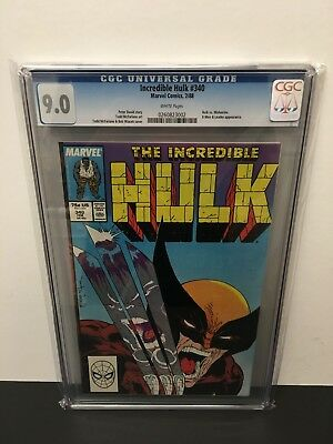 Incredible Hulk 340 Cgc 9.0 Vf/nm!!! Todd Mcfarlane Art! Hulk Vs Wolverine