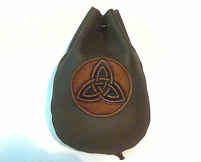 Leather Dice Rune Coin Pouch Bag Taller Brown Triquetra Medieval Sca Larp