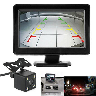 "LED Night Vision  12V 4.3""  Rear View Monitor  Back Up Camera Kit Car Reverse"