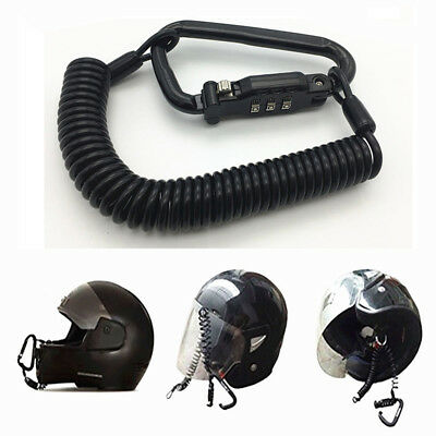 Heavy Duty Motorcycle Helmet Lock Cable Sleek Black PIN Locking Carabiner Device