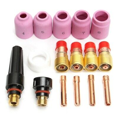 16pcs TIG Welding Torch Stubby Gas Lens Cup Nozzle Kit Back Caps for WP17/18/26