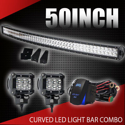 """50Inch LED Light Bar Combo + 2x 4""""in CREE PODS OFFROAD Fit SUV ATV FORD JEEP 52"""""""