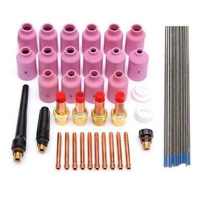 46pcs TIG Welding Torch Gas Lens Collet Body Kits WP-17/18/26 WL20 Lanthanated