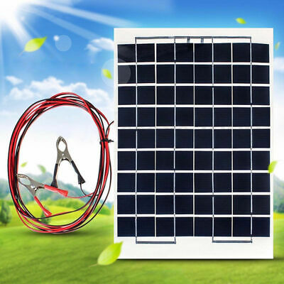 10W 12V Poly A-Class Solar Panel Battery Charger w/ Car Charger Crocodile Clips