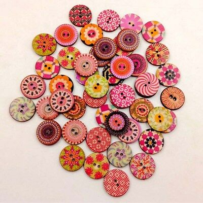 100PCS Retro Printing Round Wooden Button Blend 2 Holes Crafting Craft Sewing