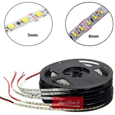 1M- 5M White 120LED/M SMD 2835 600LEDs Strip DC12V/24V Super Bright 5/8mm PCB