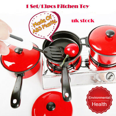 13PCS House Toy Kitchen Utensils Cooking Pots Pans Food Dishes Cookware Kid Play