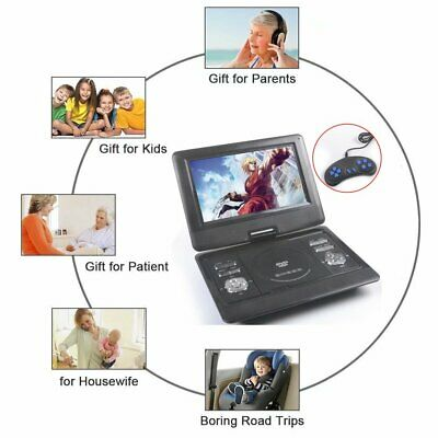 10 Inch Portable DVD Player Swivels Screen USB Game Disc For Travel Holiday Gift