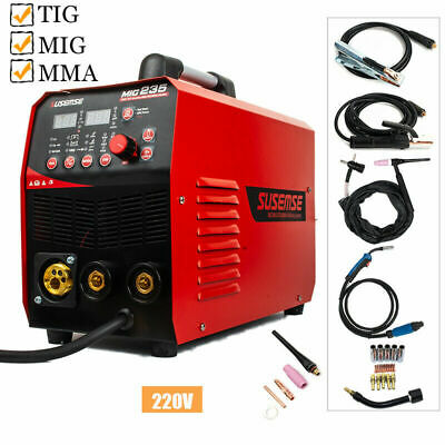 200V Inverter TIG/MIG/MMA Welder 3in1 Multiprocess Welding Machine & Accessories