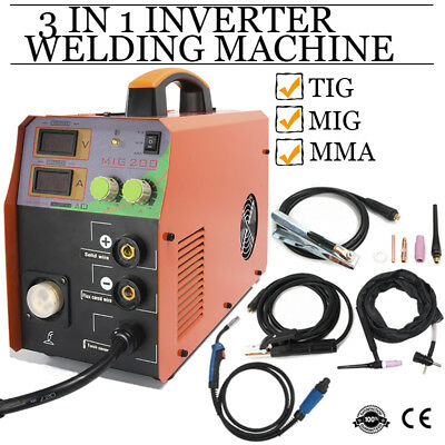 TIG MIG ARC Welder 230V Inverter  MMA 3 in 1 Welding Machine & Torch Accessories