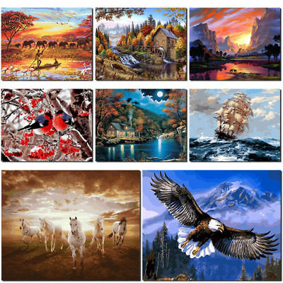 Animals Country Scenery Boat DIY Oil Painting by Numbers Canvas Set Home Decor