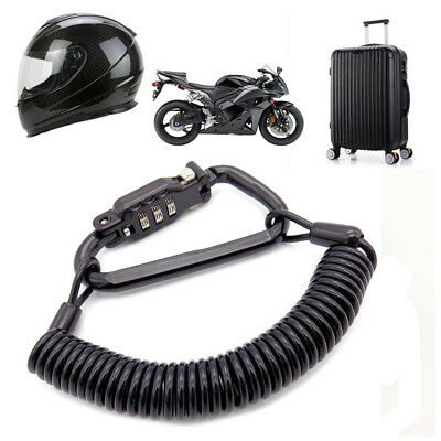 Heavy Motorcycle Helmet Lock & Cable Tough PIN Locking Carabiner Device Secures
