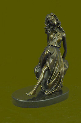 Bronze Marble Prone on Rock Female Thinker GIRL Sculpture Figure Figurine Gift