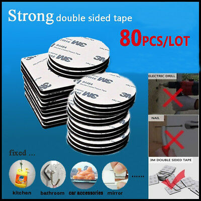 High Quality 80Pcs 3M Double Sided Tape Black Rounds/Square Strong Foam Tape