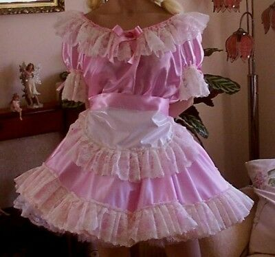 Cd Adult Baby Sissy Pink Satin Dress And Apron