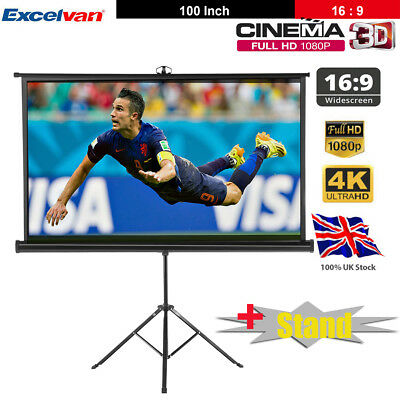 """100"""" HD Projector Projection Screen with Tripod Stand 3D Home Cinema Conference"""