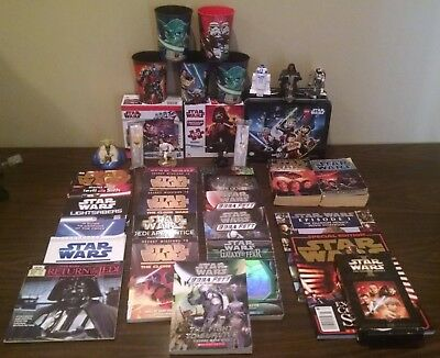 Large Lot of Star Wars Collectibles 35 items in all Books Lunchbox Figures etc!