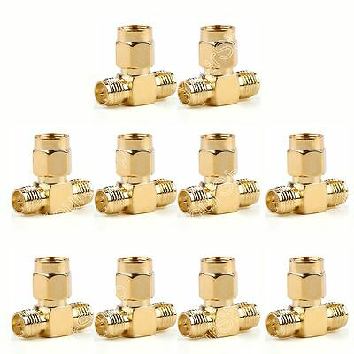 10Pc Adapter RP-SMA Jack Male To 2 RP-SMA Plug Female T RF Connector Triple
