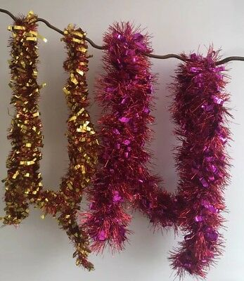 4m Christmas Tinsel Garland Festive Pink Purple Red Gold Mix