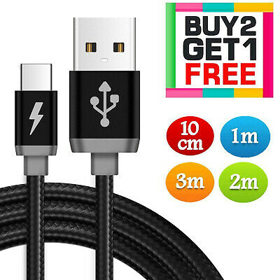 Heavyduty Long Fast Charge USB C Type C Data Charging Charger Cable Lead 2m 3m