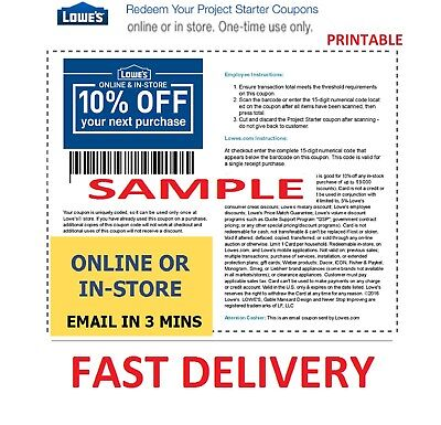 One 1x Lowes 10% OFF 1Coupons- InStore and Online -Fast-Delivery---Exp 12-31