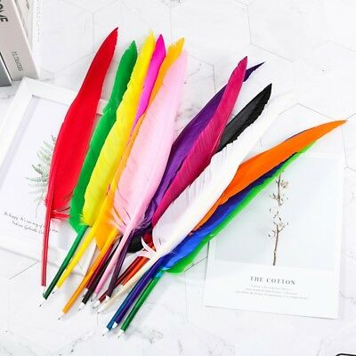 New Coloured Feather Quill Ball Point Pen Office Stationery Black Ink